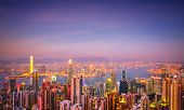 pic of tilt  - Evening aerial view panorama of Hong Kong skyline and Victoria Harbor - JPG
