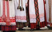 pic of traditional dress  - Detail of Lithuanian traditional dresses during  a National celebration - JPG