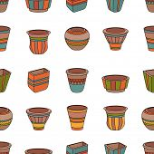 pic of pot  - Seamless pattern with clay flower pots - JPG