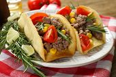 image of tacos  - Mexican food Tacos in plate on napkin - JPG