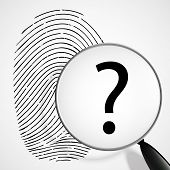 picture of fingerprint  - magnifying glass with a question mark and fingerprint isolated on white background - JPG