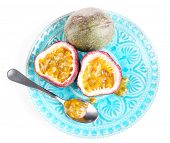 image of passion fruit  - Passion fruit on plate isolated on white - JPG