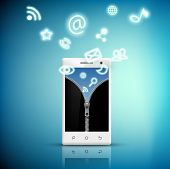 foto of zipper  - screen smart phone with a picture of a zipper and media icons - JPG