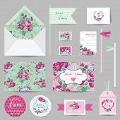 stock photo of garden-art  - Set of Wedding Stationary  - JPG