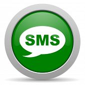image of sms  - sms green glossy web icon  - JPG