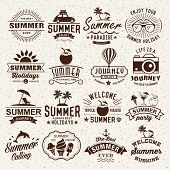 Summer typography designs. Summer logotypes set. Vintage design elements, logos, labels, icons, obje poster