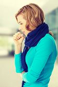 pic of cough  - Young woman coughing because of flu - JPG