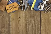 picture of happy day  - Happy Fathers Day gift tag with top border of tools and ties on a rustic wood background - JPG