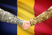 stock photo of chad  - Soldiers shaking hands with flag on background  - JPG