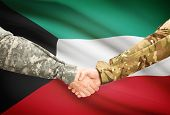 image of kuwait  - Soldiers shaking hands with flag on background  - JPG