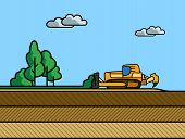 stock photo of dozer  - Dozer removal of the top ground layer vector color illustration in simple spot color - JPG