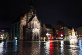 picture of bavaria  - Frauenkirche view at night after rain on Hauptmarkt square in Nuremberg - JPG