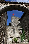 Medieval walled town poster
