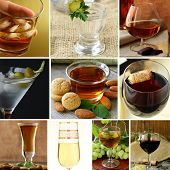 stock photo of vodka  - collage menu different types of alcohol  - JPG