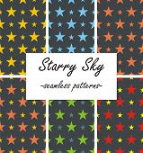pic of starry  - A pack of 6 seamless starry patterns on a dark background - JPG