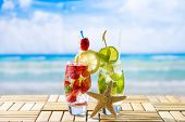 picture of tropical food  - Fresh tropical cocktails on beautiful sunny beach - JPG