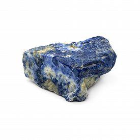 stock photo of lapis lazuli  - Natural rough lapis lazuli stone on a white background - JPG