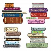 Vintage hand drawn books library vector set. Literature covers poster