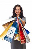 Young Woman Showing Shopping Bags