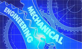 stock photo of mechanical drawing  - Mechanical Engineering on Blueprint of Cogs - JPG