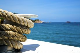 picture of anchor  - asia in the kho tao bay isle white ship rope and south china sea anchor - JPG