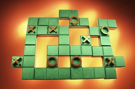 image of tic  - Tic Tac Toe Puzzle on Warm Background - JPG