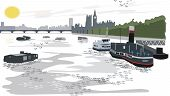 London Thames River illustration