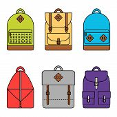 Backpack. Backpack icon. Isolated backpack icons set on background. poster