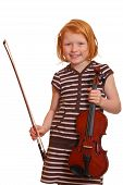 picture of musical instrument string  - a portrait of a young girl holding her violin - JPG