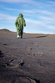 stock photo of scoria  - The scientific ecologist in overalls leaves afar - JPG
