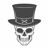 Steampunk skeleton with high hat. Smiling victorian bandit logo template. Wanted die or alive portra poster