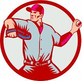 Постер, плакат: Baseball Pitcher Throwing Ball Circle Side Woodcut