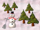Snowman And Trees In Snow Scene