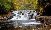 stock photo of dick  - Dick Creek Falls in Northern Georgia during the peak autumn season - JPG
