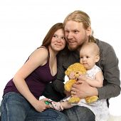 Happy Family: Child, Mother And Father
