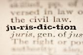 picture of pronunciation  - Word jurisdiction from the old dictionary a close up.