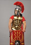 Nice portrait of a legionary soldier in armour