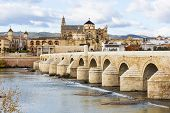 Постер, плакат: Roman Bridge And Mosque Cathedral Of Cordoba In Spain