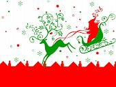stock photo of santa sleigh  - rheindeer pulling santa on his sleigh - JPG
