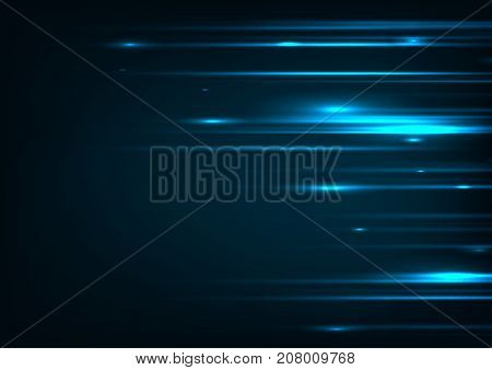 poster of High speed. Hi-tech. Abstract technology background concept.Speed movement pattern and motion blur over dark blue background.