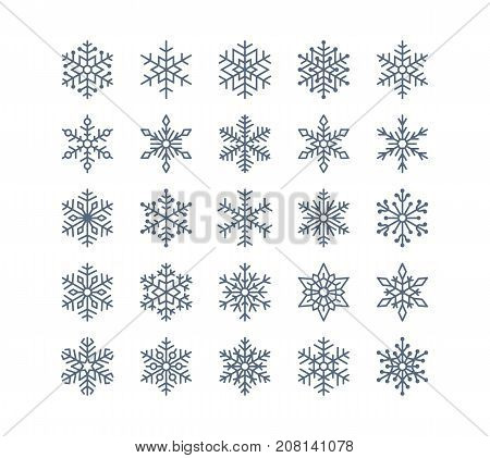 poster of Snowflake flat icons set. Collection of cute geometric snowflakes, stylized snowfall. Design element for christmas or new year card, winter ornament. Frozen snow flakes silhouette on white background.