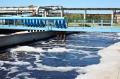 stock photo of aeration  - Water recycling and cleaning on sewage treatment station