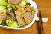 Stir-fried Rice Noodles, Bok Choy and Beef