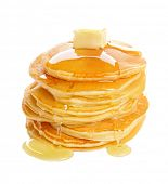 Tasty pancakes with honey and piece of butter on white background poster