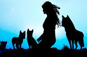 Female Indian With Wolves