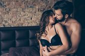 Beautiful Half Naked Brunet Young Couple Is Embracing In The Bed Room, About To Have Sex, So Tender, poster