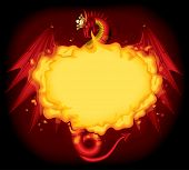 Raster version of vector image of red dragon breathing fire with a gold crown on the black background