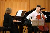 MOSCOW - JANUARY 14: Narek Hakhnazaryan plays Antonio Stradivari cello, Gayane Hakhnazaryan plays pi