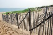 image of cape-cod  - Cape Cod beach landscape with wood fence - JPG