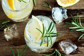 Gin Tonic Cocktail With Lemon, Rosemary poster